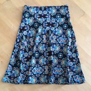 LuLaRoe Azure A-Line skirt, black floral print